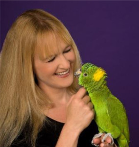 Barbara Heidenrich on petting a parrot