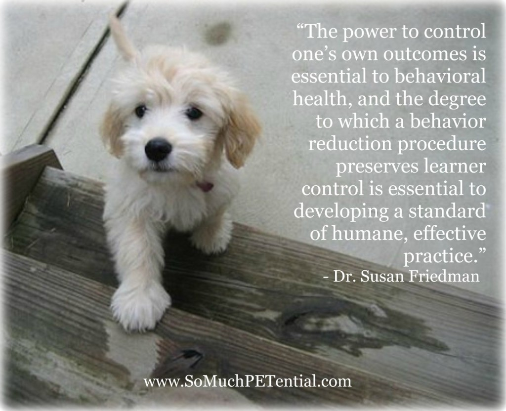 Susan Friedman, Ph.D., quote on empowering dogs and other animals