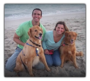 Chris and Eileen Pike with Skyler and Kiara golden retrievers