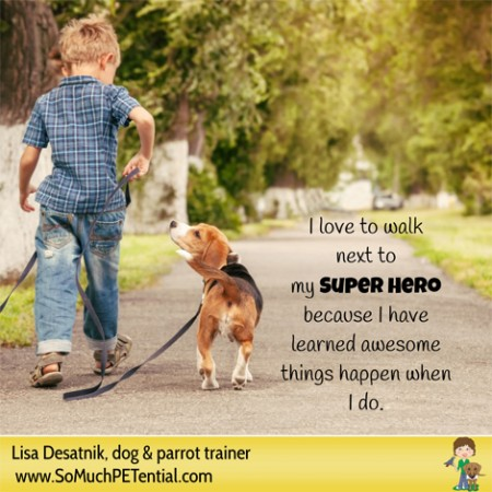 dog training tip: teaching kids about training their dog on loose leash walking