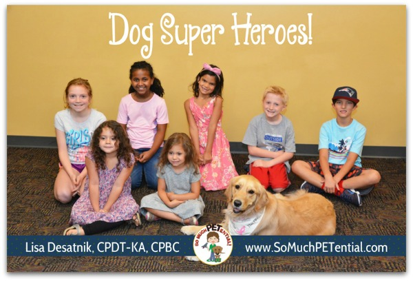 Cincinnati certified dog trainer, Lisa Desatnik, taught her kids class called My Dog's Super Hero at the Cincinnati Sports Club