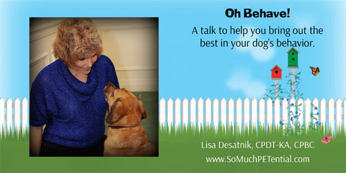 Oh Behave! is a talk for dog owners at the Blue Ash Recreation Center by Sycamore Township based certified dog trainer, Lisa Desatnik, CPDT-KA