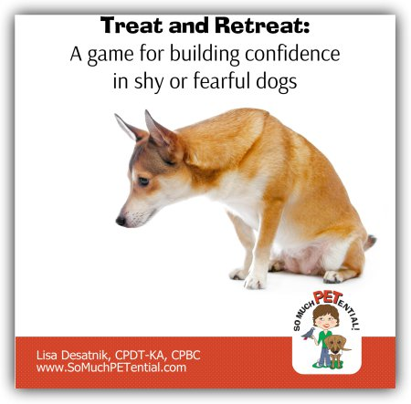 Treat and Retreat is a dog training game to help shy or fearful dogs